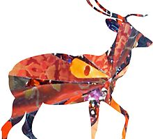 COLLAGE ART DEER by artbya