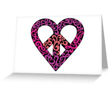 Peace Heart_Black Background Greeting Card