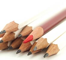 White and Red Pencils by BlinkImages