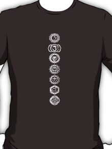 seven chakras (white on dark tee) T-Shirt