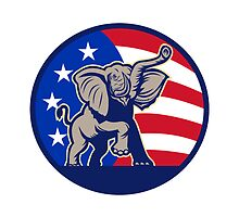 Republican Elephant Mascot USA Flag by patrimonio