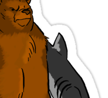 Bear with Shark Arms! Sticker