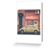 Beige Volkswagen Bug and a lovely Pink Shop (Vintage - Retro Urban Photography) Greeting Card