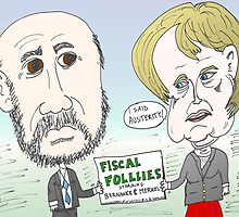 Ben Bernanke and Angela Merkel caricature by Binary-Options