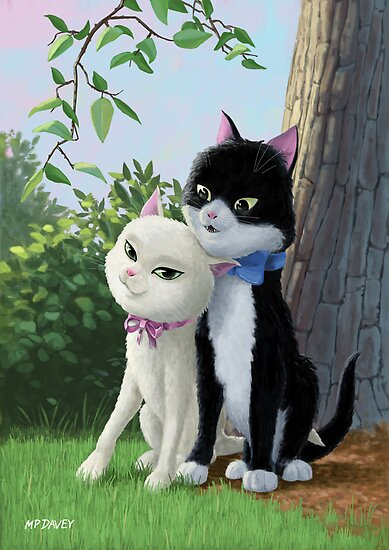 two romantic cats in love by tree by martyee