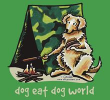 Golden Retriever Dog Eat Dog {kids, dark} by offleashart