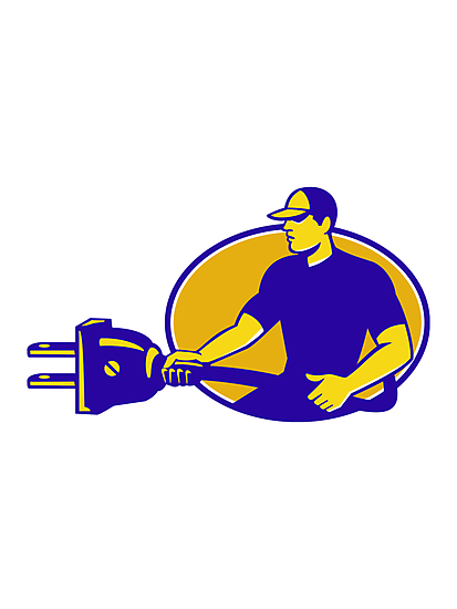 electrician plugging holding electric plug by retrovectors