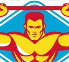 weightlifter body builder lifting weights  retro Sticker