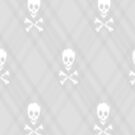 White Skull and Crossbones Plaid by HighDesign