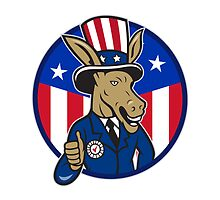 Democrat Donkey Mascot Thumbs Up Flag by patrimonio