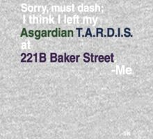Left my Asgardian Tardis at 221B...White Print Kids Clothes