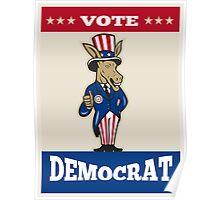 Democrat Donkey Mascot Thumbs Up Flag Poster