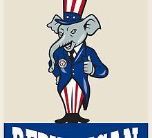 Republican Elephant Mascot Thumbs Up USA Flag by patrimonio