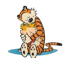 Calvin and Hobbes hug by Norby