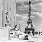 BW France Paris Eiffel tour Chaillot palace 1970s by blackwhitephoto