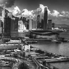 Hong Kong Harbour BW by DavidsArt