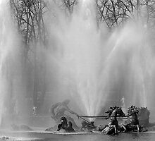BW France palace of Versailles Apollo fountain 1970s by blackwhitephoto