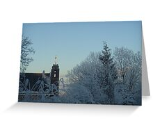 Winter scene with church Greeting Card