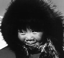 BW USA Alaska eskimo child 1970s by blackwhitephoto
