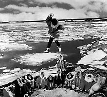 BW USA Alaska eskimo blanket tossing 1970s by blackwhitephoto