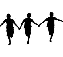Running Happy Children Sticker