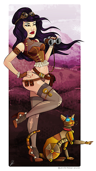 Steampunk traveler and her robot cat by Jenji