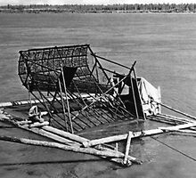 BW USA Alaska Yukon fish trap 1970s by blackwhitephoto