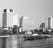 BW Germany Frankfurt Main river 1970s by blackwhitephoto