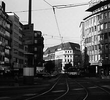 BW Germany Frankfurt City street 1970s by blackwhitephoto