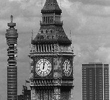 BW UK England London The post office tower Big ben 1970s by blackwhitephoto