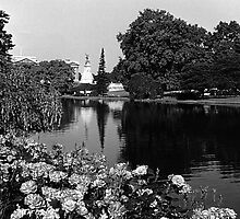 BW UK England London Buckingham palace St James Park 1970s by blackwhitephoto