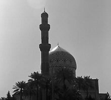 BW Iraq Baghdad mosque taxis 1970s by blackwhitephoto