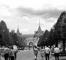 BW Thailand Bangkok Tourist royal palace entrance 1970s by blackwhitephoto