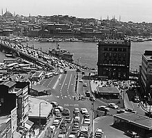 BW Turkey Istanbul Karakoy Galata bridge 1970s by blackwhitephoto