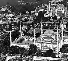 BW Turkey Istanbul blue mosque overview 1970s by blackwhitephoto