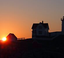 Nubble Light Sunrise by Linda  Makiej Photography