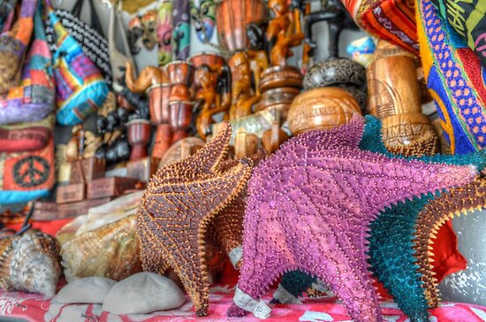 Colorful starfish at the Straw Market in Nassau, The Bahamas by 242Digital