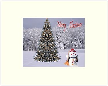 Christmas Card Snowman by Rick  Friedle