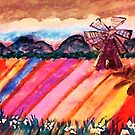 Our local flower fields, watercolor by Anna  Lewis