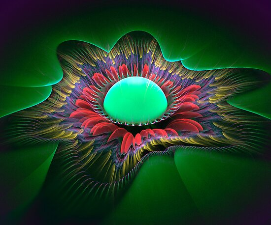 Feather Flower Egg by Pam Amos