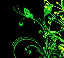 Butterfly and Branches - Green and Yellow by HighDesign