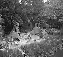 BW USA California disneyland Indian camp 1970s by blackwhitephoto