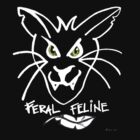 Feral Feline Black Tee Version by Donna Huntriss
