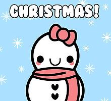 Adorable Kawaii Cartoon Snowman Greeting Card by hellohappy