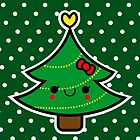 Adorable Kawaii Cartoon Christmas Tree Girl by hellohappy