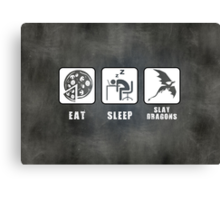 Eat, Sleep, Slay Dragons - Landscape Poster Canvas Print