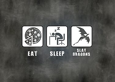 Eat, Sleep, Slay Dragons - Landscape Poster by thehookshot