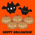 Halloween Adorable Kawaii Pumpkins and Bats by hellohappy