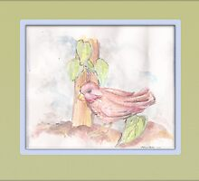 Watercolor red bird in garden by s1lence