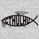 Cthulhu Fish T-Shirt (Black) by neizan